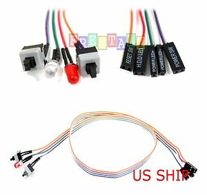 Desktop-Computer-Case-ATX-Power-amp-Reset-2-Switch-Cable-amp-HDD-Power-LED-Lights