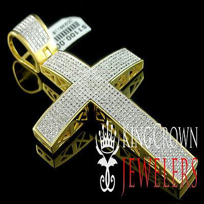 Large Real Genuine Diamond Holy Jesus Cross Pendant Charm 14K Yellow Gold Finish