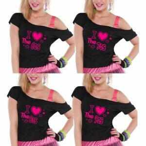 7967e02d I Love The 80s 70s 60s 90s Top Pop Star Ladies Retro T-shirt Hen ...