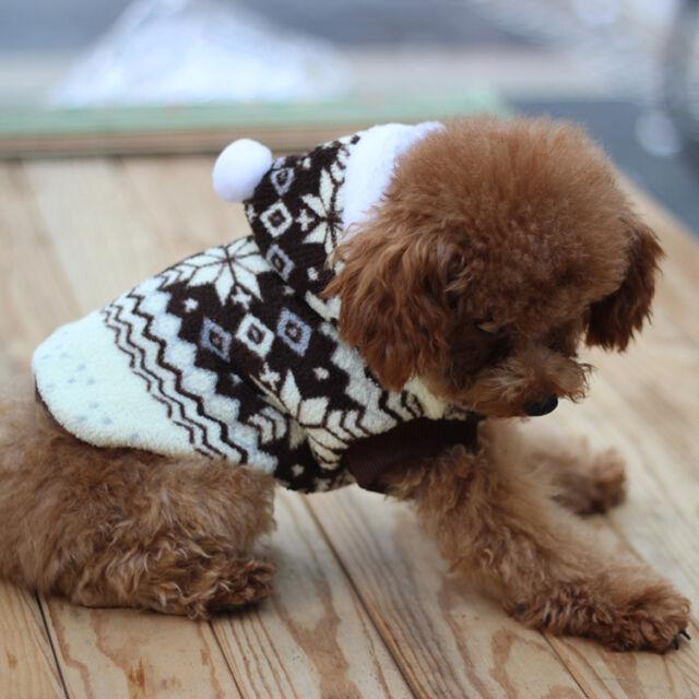 Pet Dog Snowflake Print Winter Coat Puppy Clothes Coral Fleece Hoodie Jacket New