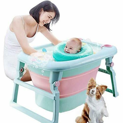 3-in-1Folding Infant Baby Bathtub Portable Collapsible Newborn Toddler Bath Tub