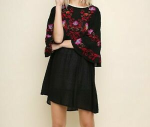 New-Gigio-By-Umgee-Dress-S-Small-Black-Floral-Embroidered-Bell-Sleeve-Swiss-Dot