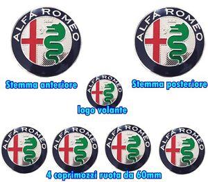 KIT-FREGIO-STEMMA-ALFA-ROMEO-GIULIETTA-MITO-147-156-159-LOGO-ARGENTO-7-PEZZI
