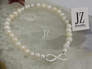801468aaa Image is loading Freshwater-Bridal-8-034-Pearl-Bracelet-Sterling-Silver-
