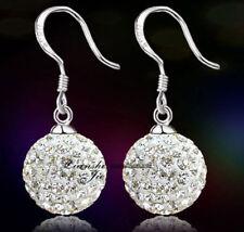 Sterling Silver Swarovski Elements Crystal Disco Ball Dangle Drop Earrings Box