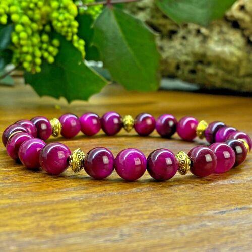 Perle du Tibet Bracelet Oeil de Tigre rose Grandes tailles disponibles