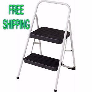 Two Steps Steel Stool Office Garage Folding Lightweight Small Ladder