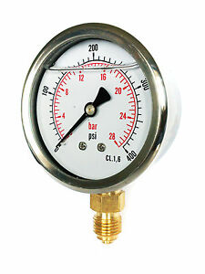 2 BAR 1//4 bsp bottom entry 63mm Glycerine Filled Hydraulic pressure gauge 0-30 PSI