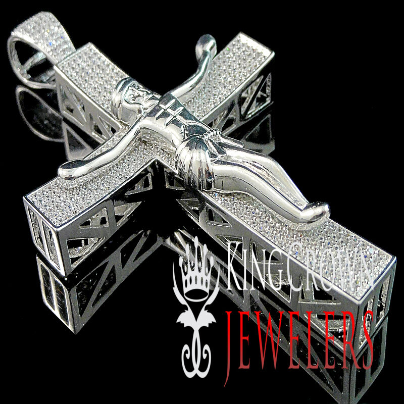 14K White gold Finish Simulated Diamond Jesus Crucifix Cross Charm Pendant 4.25'