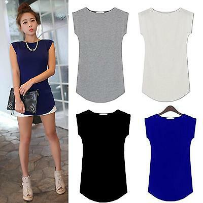New Women Sexy O-Neck Cap Sleeve Loose Modal Trend T-shirt Blouse Tops 4 Colors