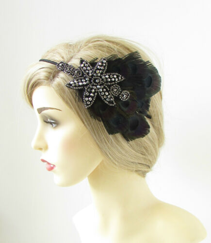 Black Peacock Feather Headpiece Headband Charcoal 1920s Flapper Great Gatsby 174