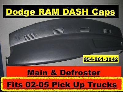 02 03 04 05 Dodge Ram Main /& Defroster Dash Cap Overlay Black Hard Plastic Cover