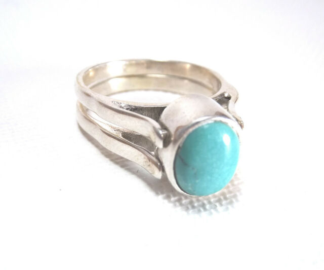Fantastic Twin Band Turquoise Black Onyx Reversible Ring  925 Sterling Silver