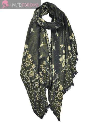 LADIES NEW GOLDEN FLORAL PRINT PAISLEY PATTERN SCARF SHAWL WRAP
