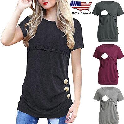 Women Maternity Nursing Solid Short Sleeve Tops Blouse Off Shoulder Tee Shirt CR