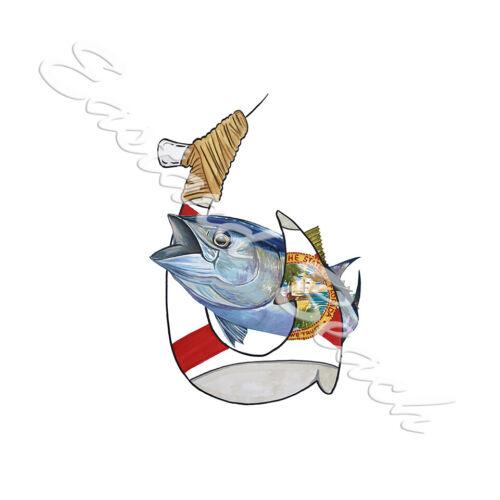 Car Truck RV Boat Florida Hook and Yellowfin Tuna Decal Sticker
