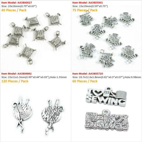 Antique Silver Plated Jewelry Making Charms Needle Knitting Yarn Ball Sewing