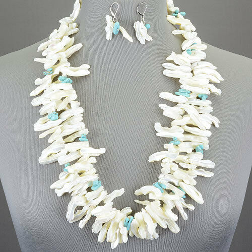 Long Double Layered White Shell Semi-Precious Turquoise Stone With Earrings