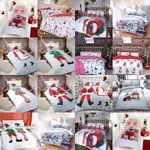 Pere-Noel-Santa-Carlin-de-Noel-Housse-de-couette-et-taies-d-039-oreiller-simple-double-king