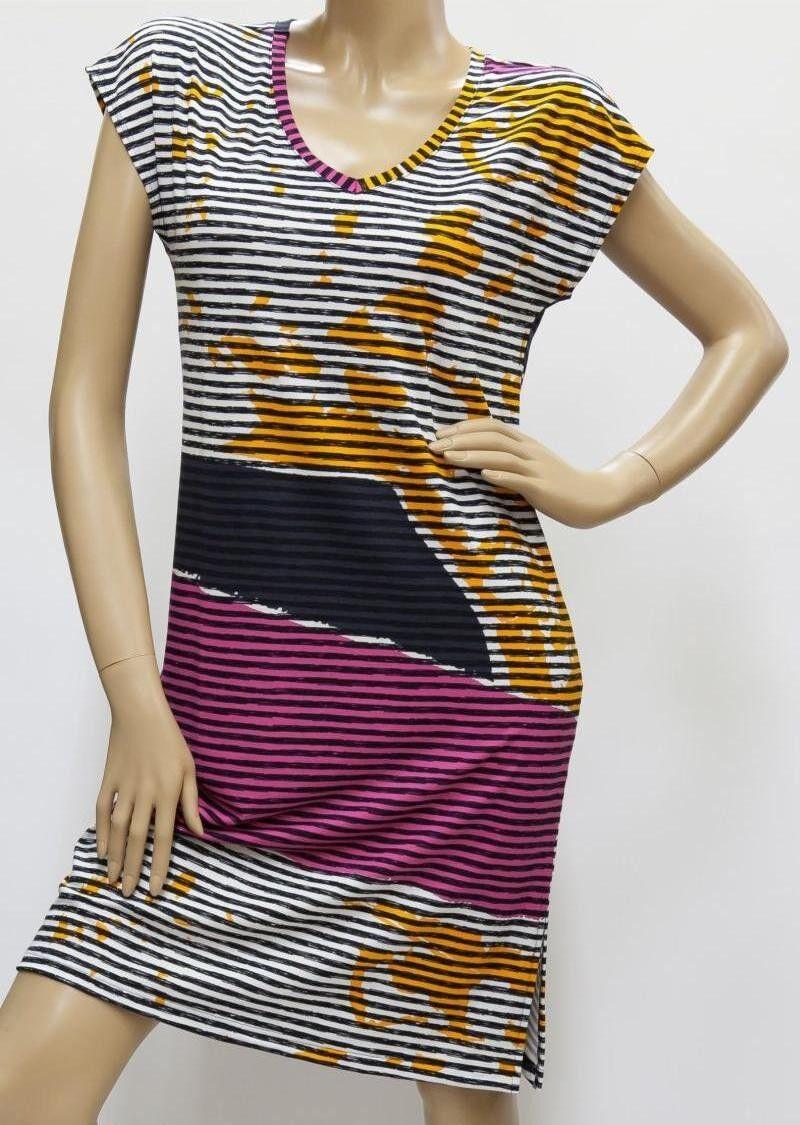 Kleid, Strandkleid, Badekleid - schwarz     bunt - Streifen, Viskose 36 - 56 | Düsseldorf Eröffnung  | Bevorzugtes Material  | Exzellente Verarbeitung  933c7c