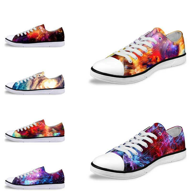 Galaxy Design Low Top Canvas Trainers Sneakers Women Mens Fitness Walking shoes