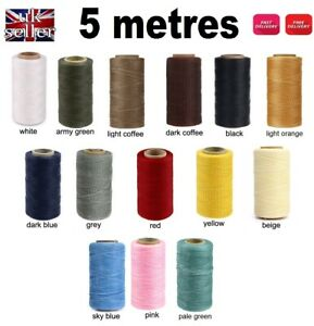 5m of 1mm Leather Sewing Waxed Polyester Thread Stitching Cord Craft