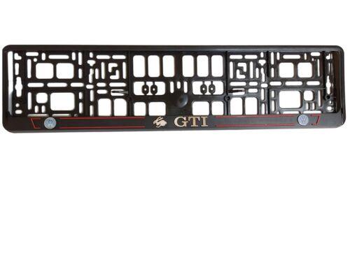 2x Black 3D VOLKSWAGEN GTI European Euro License Plate Holder Frame German