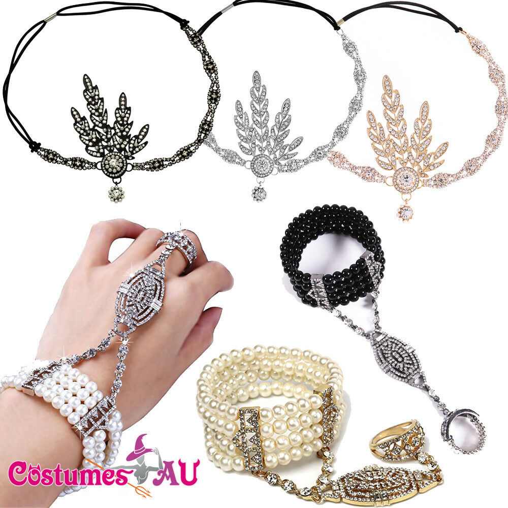 Ladies 20s Headband Bracelet Ring Set 1920s Vintage Bridal Flapper Gatsby Party