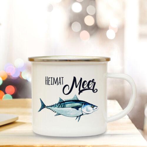 Emaille Becher Tasse maritim Fisch Campingbecher Spruch Motto Heimat Meer eb149