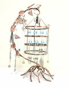 Jewelry-Display-Tree-Earring-Holder-Necklace-Hang-Organize-Stand-BirdCage-Copper