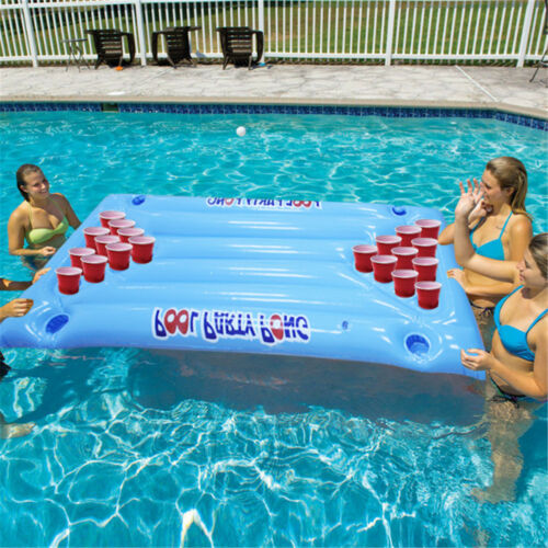 Inflatable Beer Pong Ball Table Water Floating Raft Lounge Pool Drinking Game 24