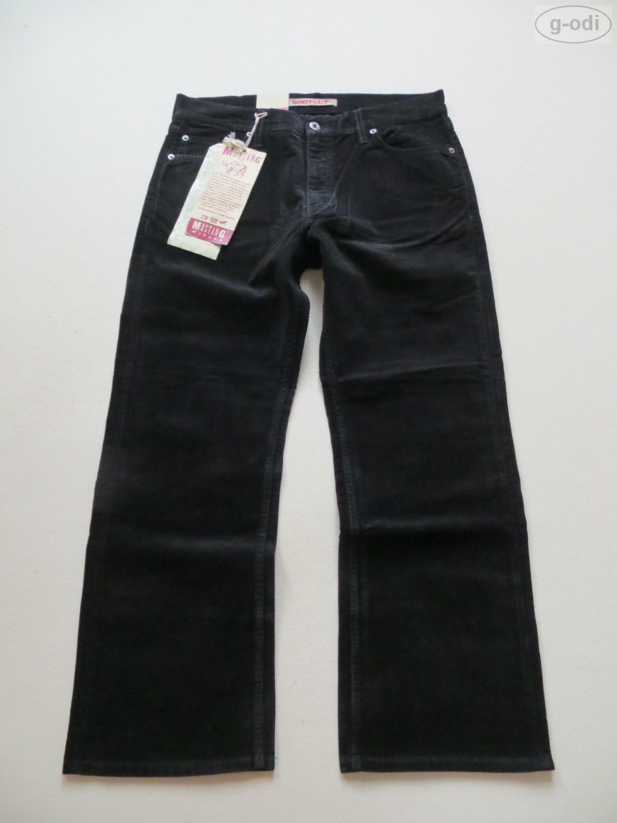 Mustang Stiefelcut Cord Jeans Hose W 34  L 30 schwarz NEU   Stretch Cordhose RAR