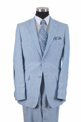 100/% Linen Suit 2 button side-vents Comes with Pants Blue Color by Milano Moda