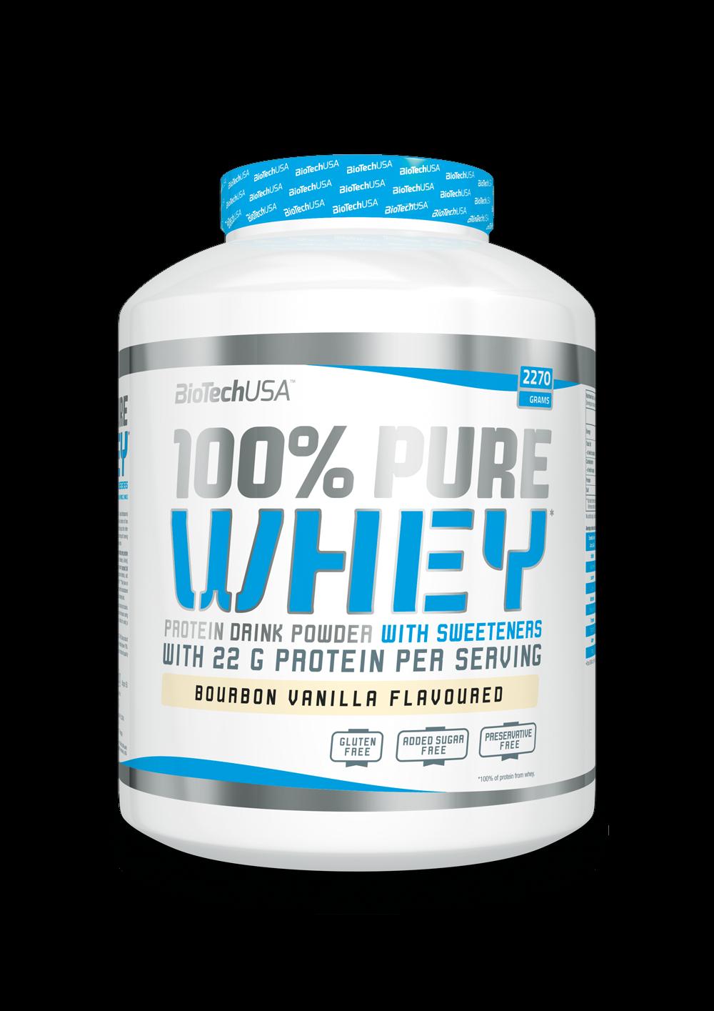BioTechUSA 100% Pure Whey Protein Eiweiß 2270g Glutenfrei Molkenprotein + BONUS