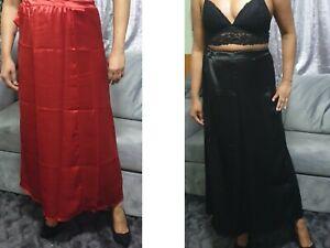 Vestido-corto-para-mujeres-largo-saten-Enagua-Falda-Enagua-De-Deslizamiento-Completo-Slip-Negro