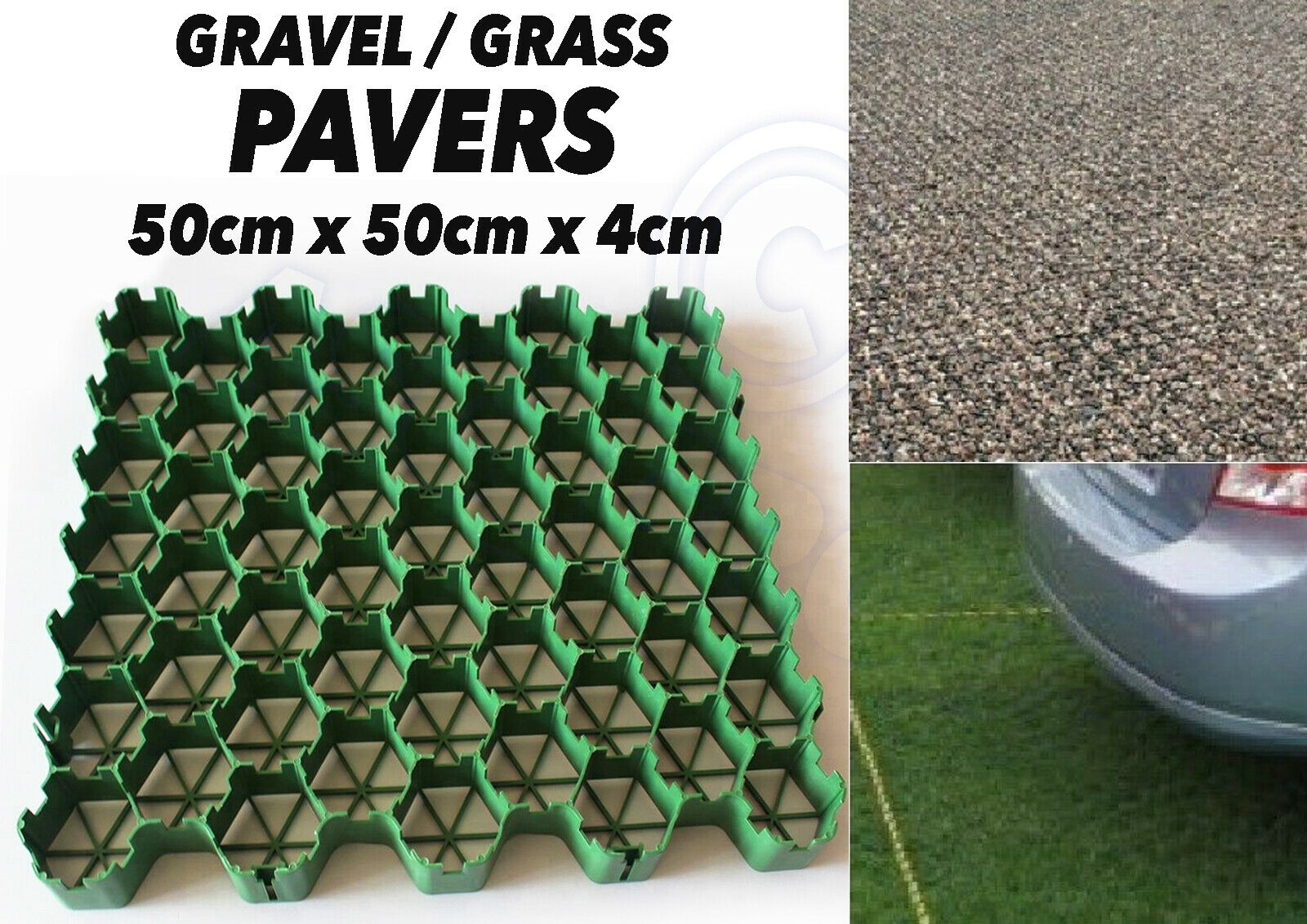 GREENHOUSE -PAVEMENT DRIVEWAY HEAVY DUTY PLASTIC 100 X GRASS GRID BLACK
