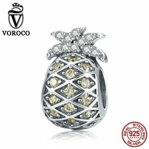 VOROCO-925-Sterling-Silver-Pineapple-Dangle-Charms-With-Gold-AAA-CZ-Fit-Bracelet