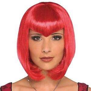 VAMPIRO-sensuale-rosso-Parrucca-a-Punta-Triangolo-FRANGIA-FRANGETTA-Sexy-gotico