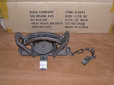 4 Duke #3 Coil Spring Trap RUBBER JAW trap coyote trapping bobcat 0474