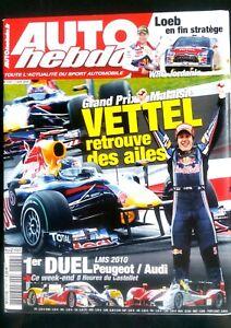 Auto Hebdo Du 7/04/2010; Gp De Malaisie; Vettel L'emporte/ Peugeot-audi/ Loeb