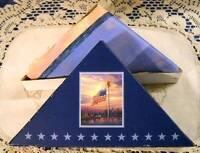"2004 Thomas Kinkade ""Light of Freedom"" Flag in Original Box 25 x 38 NY Skyline"
