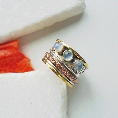 Mondstein blau weiß gold Kupfer Design Ring, Ø 18,5 mm 925 Sterling Silber neu