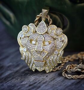 Mens Hip Hop Gold Lion Pendant Iced Out Necklace eBay
