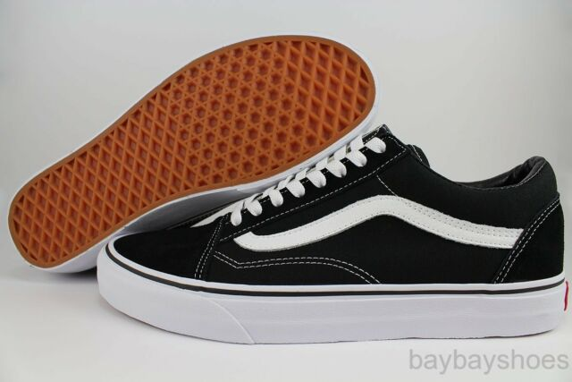 VANS OLD SKOOL BLACK/WHITE LOW SUEDE CANVAS CLASSIC SKATE SK8 US MENS SIZES