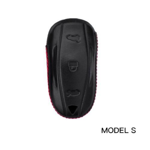 1Pcs Car Smart Remote Key Fob Leather Case Cover Holder Fit For Tesla US