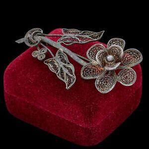 Antique-Vintage-Nouveau-800-Sterling-Silver-Floral-Flower-Filigree-Pin-Brooch