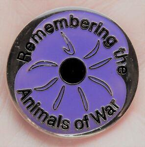 'REMEMBERING THE ANIMALS OF WAR' Purple Poppy Enamel Lapel / Pin Badge