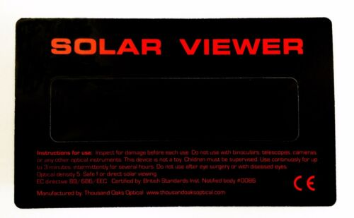 Solar Eclipse Viewer Black Polymer Shades Glasses Thousand Oaks Optical Filter