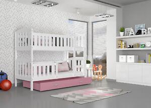Hochbett 190x80 Etagenbett Kinderbett Bett Matratze Bettkasten Weiß Rosa  JOHNNY