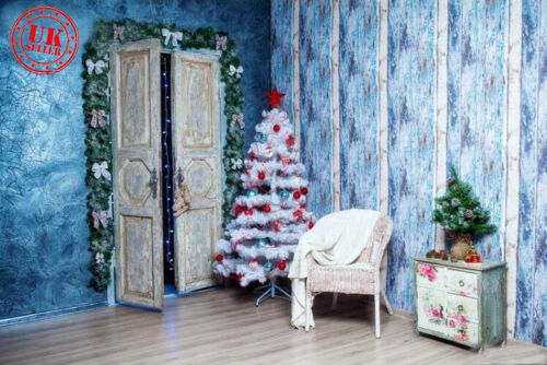 SALE CHRISTMAS TREE BLUE ROOM CHIC BACKDROP VINYL PHOTO PROP 7X5FT 220X150CM